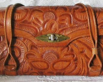 Vintage Hand Tooled Leather Warm Butterscotch Color Purse