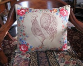 Rooster Pillow Cover - Handmade