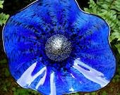 Small hand blown glass flower - Cobalt