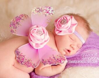 LAST ONE- wing Set- Newborn butterfly wings with headband, fairy wings,newborn girl, newborn photo prop, nylon wings, new baby girl, newborn