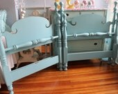 custom order Shabby Chic Vintage Twin 4 Post Bed Frame Pair Aqua Blue Distressedany color