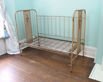 Antique Baby Crib Daybed Tan Decor Metal Cottage Prairie Shabby Chic