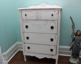 custom order Antique Dresser shabby chic white distressed Petite Tall Boy cottage prairie beach coastal