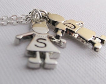 Son And Daughter Necklace, Personalized Child Charm Necklace, Childrens Initial Necklace