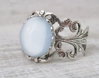 Silver Blue Ring, Blue Adjustable Ring, Ice Blue Cabochon, Antique Silver Ring, Blue Jewelry, Adjustable Rings