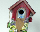 Slanted Red Birdhouse with Clean Out , Handmade , Hand Painted , with Extras