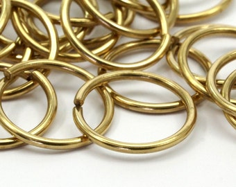 18mm Jump Ring - 50 Raw Brass Jump Rings (18x1.5mm) D233