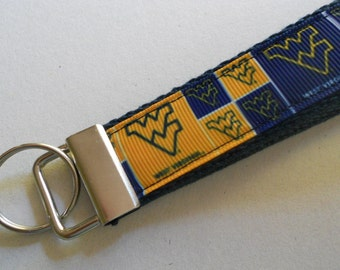 West Virginia University  Wristlet Key Fob, WVU team logo