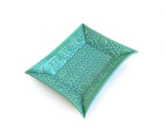 festive  hand built porcelain tray  ...  jade