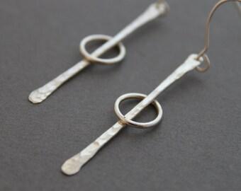 Sterling Earrings, Orbit drop earrings, Long dangles, Hammered Metal