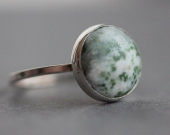 Statement Ring - Sterling Tree Agate Ring - Size 8.75 US/CANADA