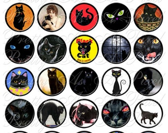 Black Cats - INSTANT DOWNLOAD - Digital Collage Sheet - 1.5 Inch Circles