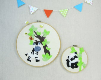 Wall Décor -  Zebra and Bees - Children, Fiber, Illustration, Nursery, Gift