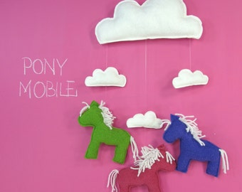 Pony Baby Mobile -  Nursery, Decor, Mobile, Clouds, Horse, Baby, Room, Pink, Purple, Green, Girl