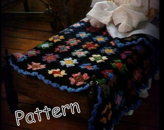 Doll Bed Afghan Crochet Pattern 013087 - Instant Download - Pattern Only - Granny Square
