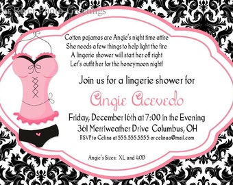 Lingerie Shower Invitations -- Printable Digital File