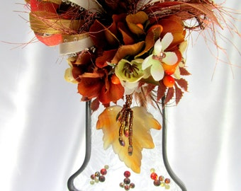 Autumn Agate Maple Leaf Frosted Stained Glass Bell Suncatcher or  Ornament