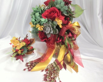 Dark Red, Gold and Blue Spruce and Succulent Cascading Brooch Bridal Bouquet and Boutonniere Set ready to ship