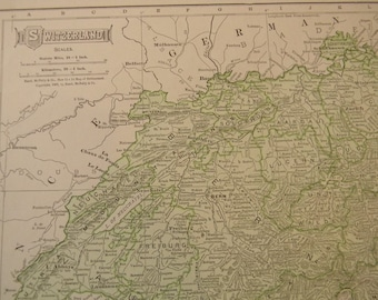 1911 Map Switzerland - Vintage Antique Map Great for Framing 100 Years Old