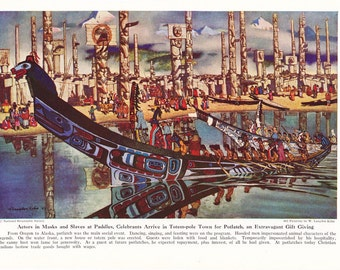 1940s Native American Indian Art - Totem Pole City - Vintage Antique Illustration Ethnology for Framing 75 Years Old