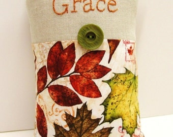 Grace pillow- hand  embroidered on linen with Autumn leaves READY TO SHIP