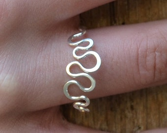 Silver ring  Sterling Silver ring  simple silver ring snakey ring, hand forged eco friendly Design jewelry MADE TO ORDER