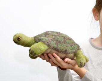 Felted Animal Turtle Toy- Hamlet the Giant Tortoise Turtle - Foot Long Wool Pet - Needle Felted Animal