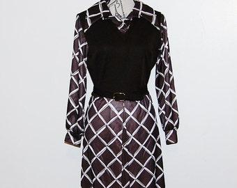 Vintage Dress 70s Scooter Brown