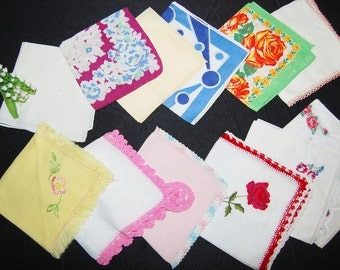Handkerchief Collection of Vintage Charming Crochet and Flowers.....One Dozen