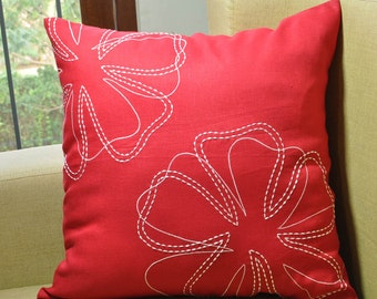 Flower Pillow Cover, Decorative Pillow, Throw Pillow Cover. Red Linen Pillow White Floral Embroidery, Pillow Accent, Toss Pillow, Home Decor