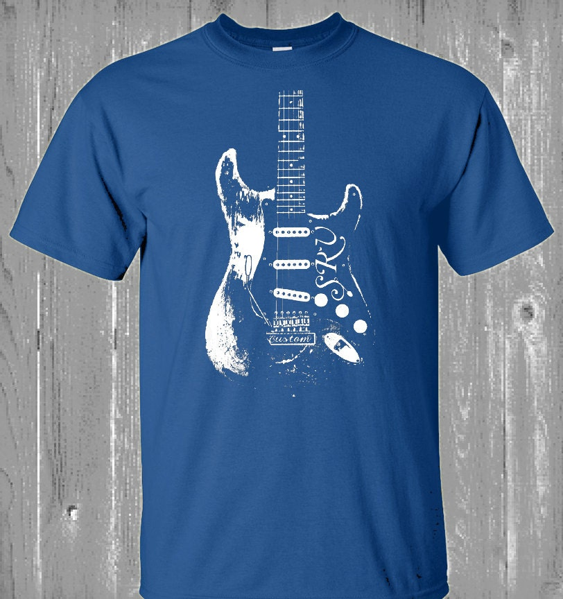 stevie ray vaughan t shirt blues guitar tee bb by luckyarmadillo. Black Bedroom Furniture Sets. Home Design Ideas