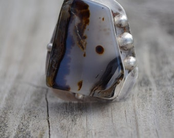 Chunky Heavy Dendrite Landscape Montana Series #103 Agate and Sterling Silver RING size 6.5