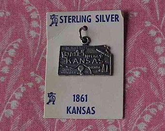 Vintage Sterling Kansas State Map Travel charm On Original Sales Card
