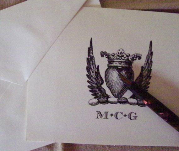 Personalized Notecard Hearts Crown WIngs Monogrammed Note Cards Stationery Set of 10 Ivory Vintage Inspired Wedding Cards Love