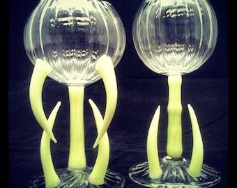 "Wine Goblet Set ""Handmade Lampworked Borosilicate Glass"""