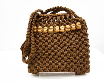 70's Brown Macrame with Wooden Beads Vintage Tote