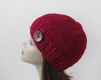Chunky Knit Hat Winter Hat Chunky Knit Beanie Womens Hat Teens Hat - Cranberry with  Button Accent  - Ready to Ship - Direct Checkout