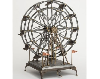 Ferris Wheel, 28 inches high, Turns by Crank and Chain