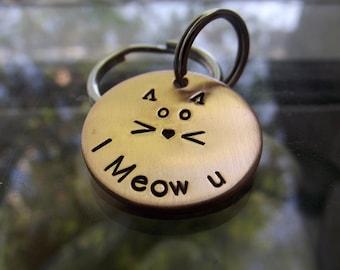 I Meow U, copper keychain