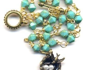 Turquoise Bird Nest Necklace, Pearl, Gold and Turquoise Family Symbol Necklace, Good Luck Bird Necklace, Handmade Jewelry by AnnaArt72