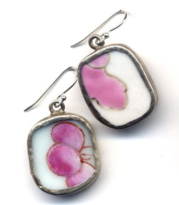Winter Lavender Ceramic Earrings On  Sterling Silver Ear Wire |  Porcelain Jewelry by AnnaArt72