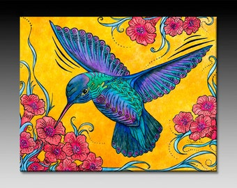 Hummingbird Ceramic Tile Wall Art