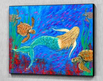 The Mermaid Dance, Wood Wall Panel, Ready to Hang
