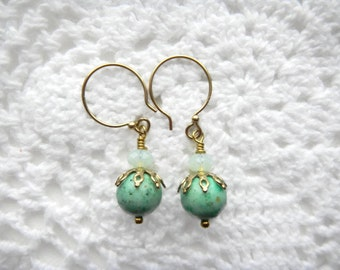 Fossil Bead Earrings, Mint Color Earrings, Natural Semi Precious Beads, Swarovski Crystals
