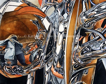 Reflections on a London Harley- signed limited edition watercolor print