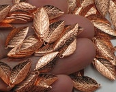 25 Or More Copper Leaf Charm Pendants 15mm Copper Plated Brass Leafs Leaves Bright Copper Autumn Nature Forest Small Pendant Lightweight Tag
