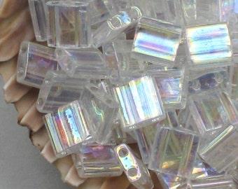5 Or More Grams Clear Two Hole Tila Beads Crystal AB # 250 5mm Genuine Miyuki Tila Two Hole Aurora Borealis White Wedding Colors Flat Glass