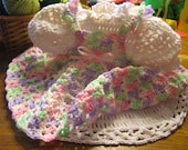 Hand Crocheted Baby Dress in Variegated Pink Green Purple and White Baby Yarn Matching Bonnet and Booties available