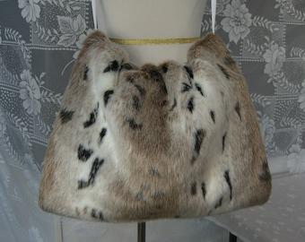 Oversized Snow Lynx Fur Hand MUFF, Women's Hand Muff, Faux Fur Muff, Extra Large Handmuff