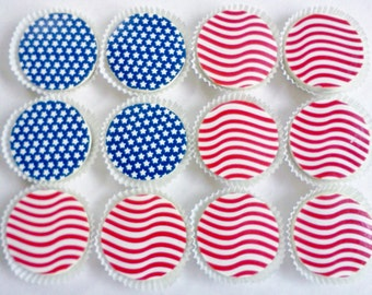 1 Doz STARS and STRIPES Designer Chocolate Covered Oreos 4th of July Memorial Day USA